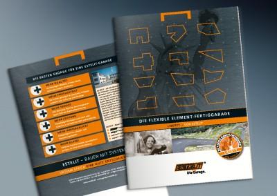 Titel & Rückseite  – ESTELIT-Produktflyer – Elementgaragen
